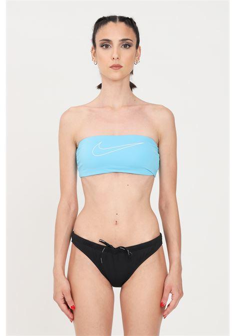 Costume top mare donna azzurro nike con logo a contrasto NIKE | Beachwear | NESSB348-445445