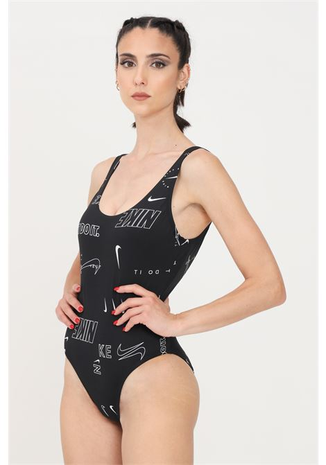 Costume intero donna nero nike con logo lettering a contrasto NIKE | Beachwear | NESSB356-0011