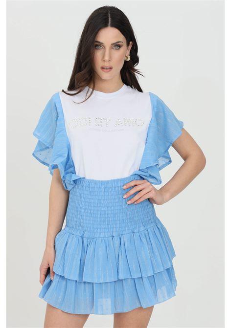 T-shirt donna bianco-celeste odi et amo a manica corta con applicazione strass frontale e rouches laterali ODI ET AMO | T-shirt | 004T1CELESTE