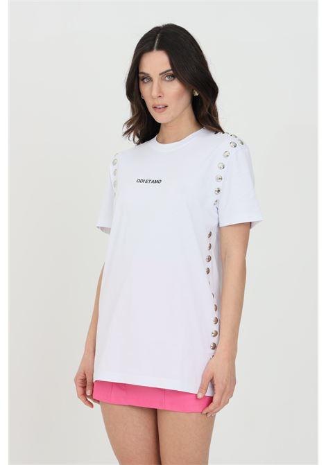 T-shirt donna bianca odi et amo a manica corta con logo frontale e applicazione borchie ODI ET AMO | T-shirt | 039T1BIANCO