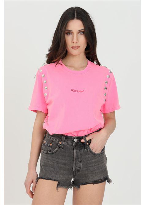 T-shirt donna fucsia odi et amo a manica corta con logo frontale e applicazione borchie ODI ET AMO | T-shirt | 039T1FUXIA