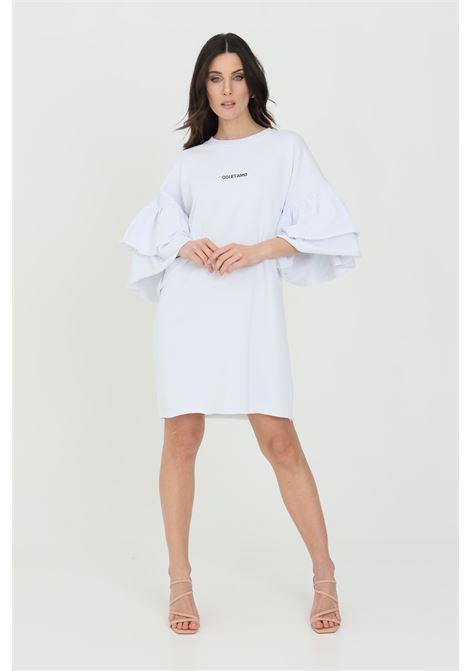Abito donna bianco odi et amo corto con doppio volant. Logo stampato in piccole dimensioni sul fronte. Vestibilità comoda ODI ET AMO | Abiti | 044T1BIANCO