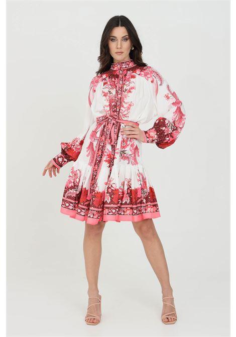 Abito donna bianco-rosa odi et amo corto a mezza ruota con cintura in vita ODI ET AMO | Abiti | 061T1BIANCO