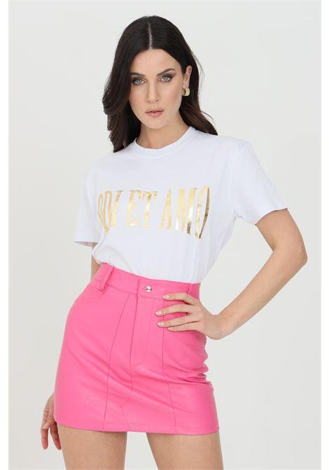 T-shirt donna bianca odi et amo a manica corta con logo frontale in oro ODI ET AMO | T-shirt | 076T1BIANCO