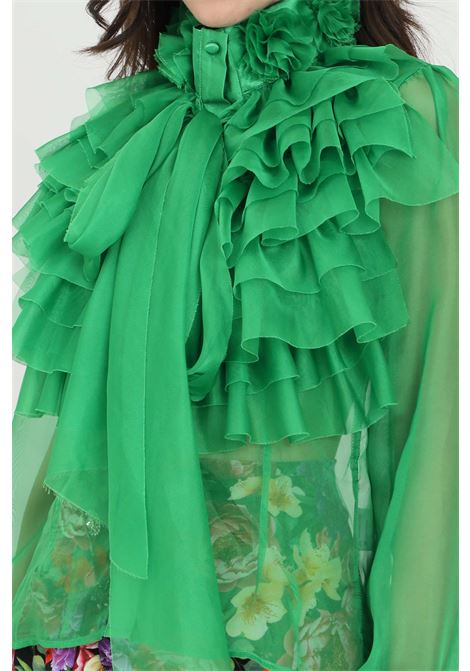 Green shirt with tone on tone flounces and organza applications. Front closure with buttons. Odi et amo ODI ET AMO | Shirt | 093T1VERDE