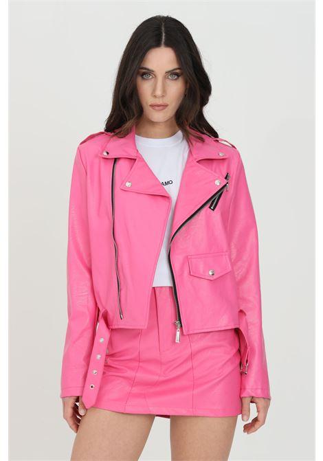 Fuchsia jacket in eco- leather with rhinestone applications on the back. Fake front pocket. Zip closure and waistband. Odi et amo ODI ET AMO | Jacket | 119T1FUXIA