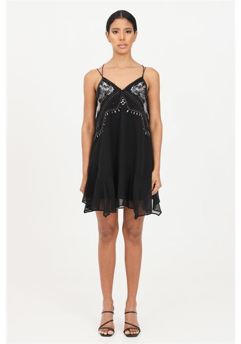 Black women's dress with applications and tassels patrizia pepe PATRIZIA PEPE | Dress | 2A2196-A8X0K103