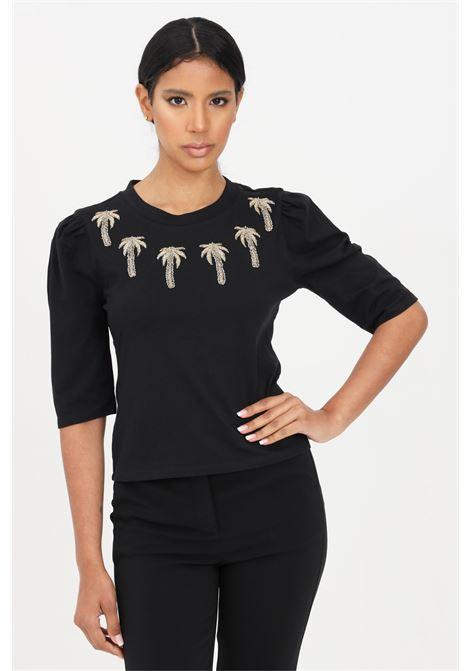 Black women's t-shirt short sleeve with embroidered palms patrizia pepe PATRIZIA PEPE | T-shirt | 2M4079-A4R4K103