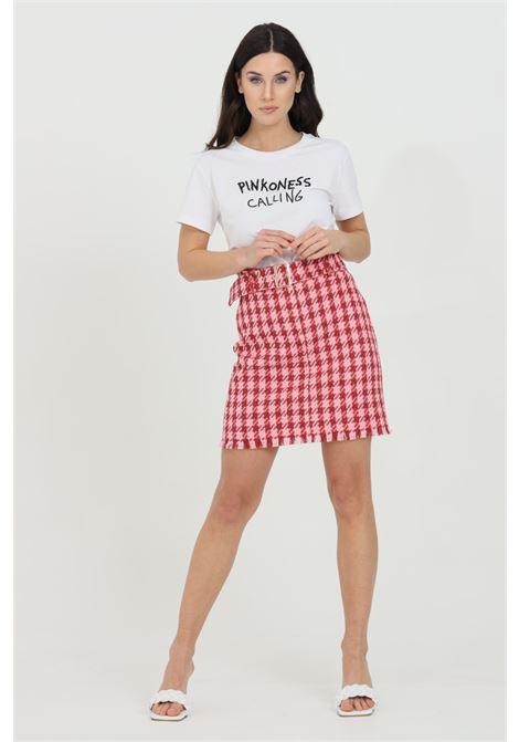 Gonna donna rosa-rosso pinko corta con macro pied de poule PINKO | Gonne | 1G15QT-8420NR4