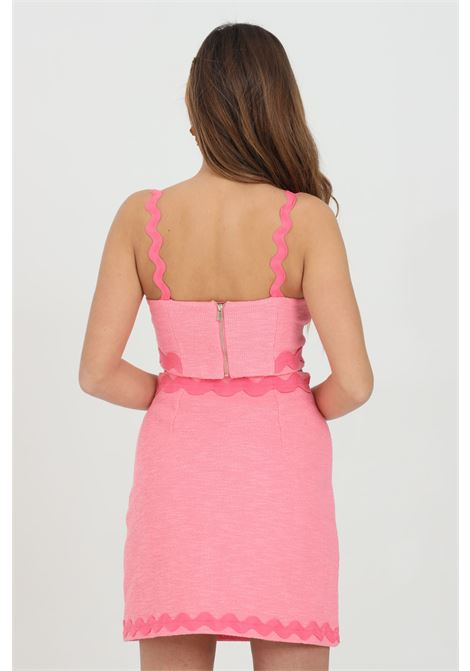 Pink top in cotton with embroidered waves and short cut. Zip closure. Pinko PINKO | Top | 1G15R5-8443Q76