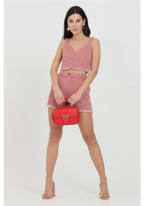 Pink-red with fringed bottom. Side pockets and closure with button and zip. Pinko PINKO | Shorts | 1G15RW-8425RN6