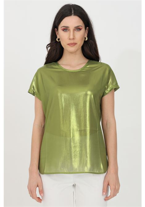 Lime blouse, laminated model with short sleeves and wide bottom. Comfortable model. Pinko PINKO | Blouse | 1G15TC-Y63DT56