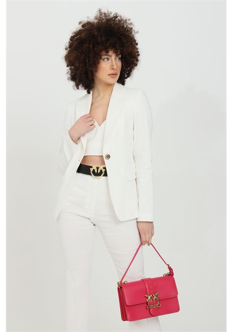 White jacket in linen with button and front pockets. Spear revers PINKO | Blazer | 1G15TM-7435Z15