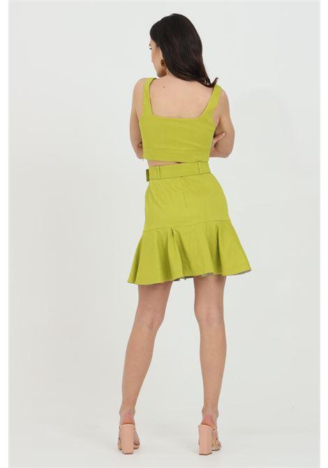 Gonna donna lime pinko corta con cintura in vita e zip laterale. Fondo ampio e con balze PINKO | Gonne | 1G15V9-7435T56