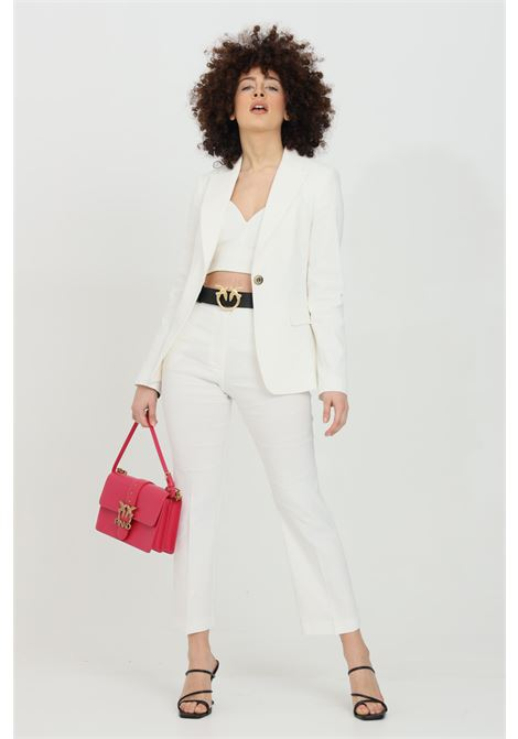 White trousers in linen with high-waist. Classic model with wide bottom. Pinko PINKO | Pants | 1G15VC-7435Z15