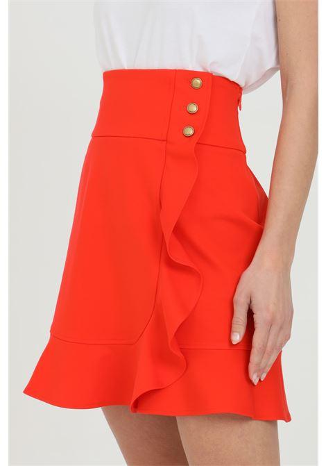 Gonna donna rossa pinko corta con chiusura a portafoglio e rouches. Chiusura con bottoni PINKO | Gonne | 1G15VE-5872R25