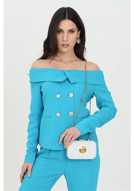 Light blue jacket in double-breasted crepe. Pinko PINKO | Blazer | 1G15VS-8385U98