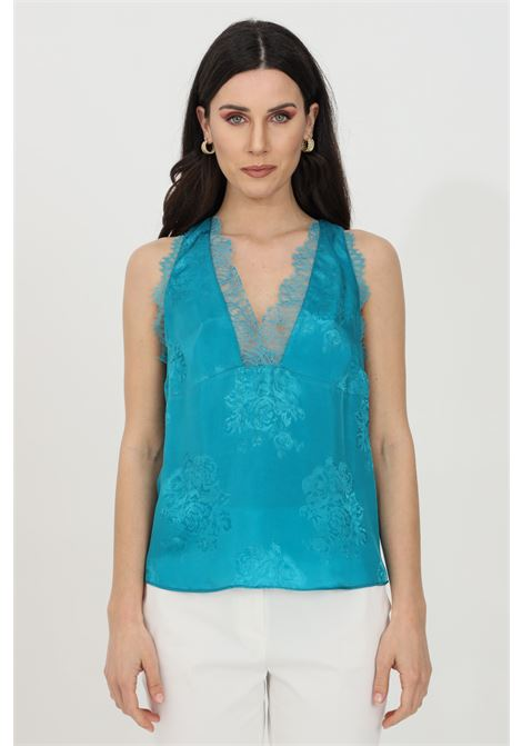 Light blue top with floral theme and lace details. Sleeveless. Pinko PINKO | Top | 1G15W9-8405U98