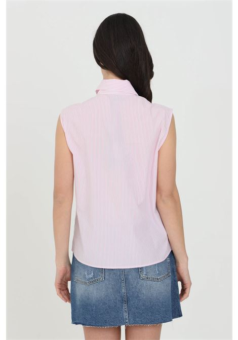 Pink shirt in striped cotton poplin with fringes applied on the front. Sleeveless model. Classic collar and button closure. Pinko PINKO | Shirt | 1G15WC-8427ZN3