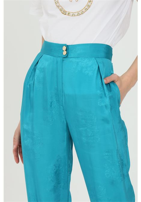 Light blue pants in jacquard fabric with floral design. High waist with pences and pockets on the sides. Zip closure and double metal button. Pinko PINKO | Pants | 1G15WL-8405U98
