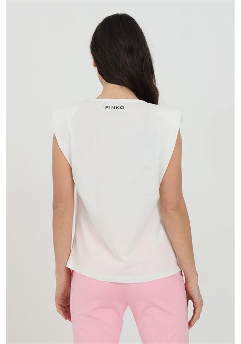 T-shirt donna bianca pinko a smanicato in cotone con stampa collana PINKO | T-shirt | 1G15XT-Y73YZ14