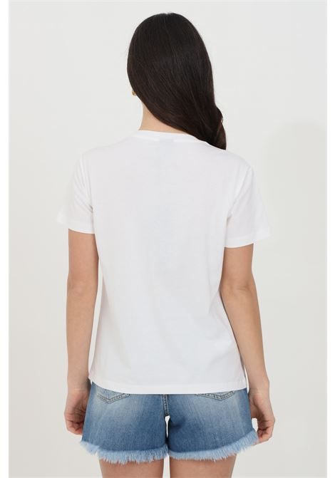 White t-shirt with love birds embroidery, short sleeves. Pinko PINKO | T-shirt | 1G1610-Y4LXLZC
