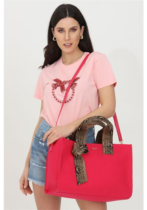 Pink t-shirt with love birds embroidery, short sleeves. Pinko PINKO | T-shirt | 1G1610-Y4LXO53