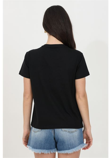 Black t-shirt with love birds embroidery, short sleeves. Pinko PINKO | T-shirt | 1G1610-Y4LXZ99