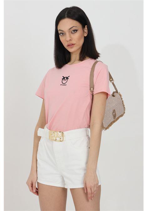 T-shirt a maniche corte con logo ricamato sul fronte PINKO | T-shirt | 1G1619-Y651O53
