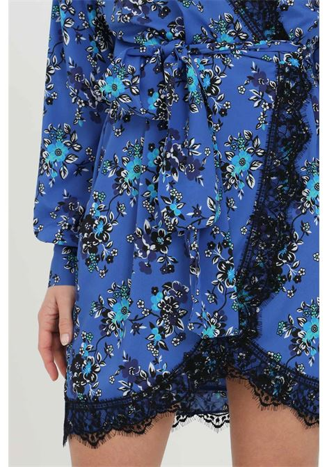 Blue dress in georgette with all-over floral print, wallet closure. Pinko PINKO | Dress | 1G163N-8460ET3