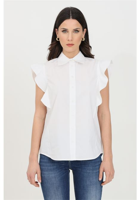 White shirt with ruffles and regular collar. Classic closure with buttons. Pinko PINKO | Shirt | 1G1640-Y6VWZ04