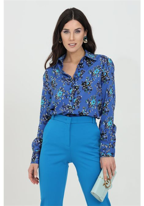 Blue shirt in crepe de Chine and flower print. Classic collar and button closure. Pinko PINKO | Shirt | 1G164B-8460ET3