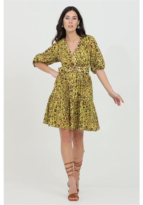 Acid green dress with belt at the waist and allover animalier print. Zip closure on the back. Pinko PINKO | Dress | 1G164F-8468VAM