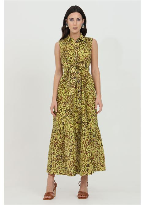 Acid green dress with animalier print and belt at the waist. Front closure with buttons. Pinko PINKO | Dress | 1G1668-8468VAM