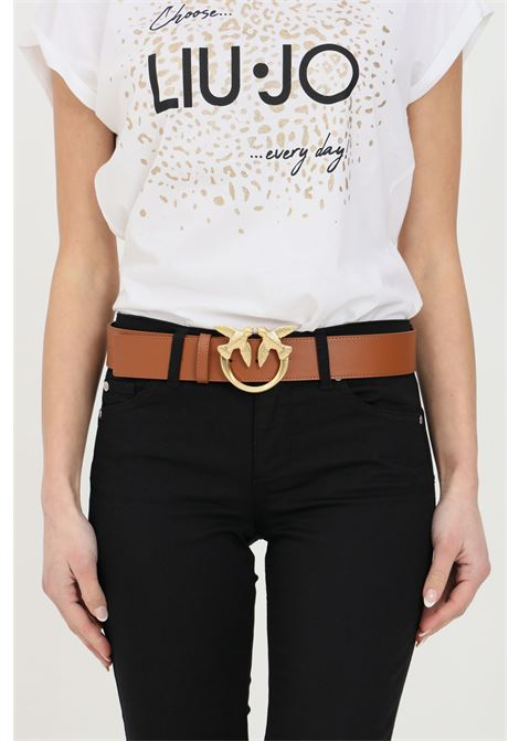 Brown belt with light gold buckle. Pinko PINKO | Belt | 1H20WJ-Y6XFL58