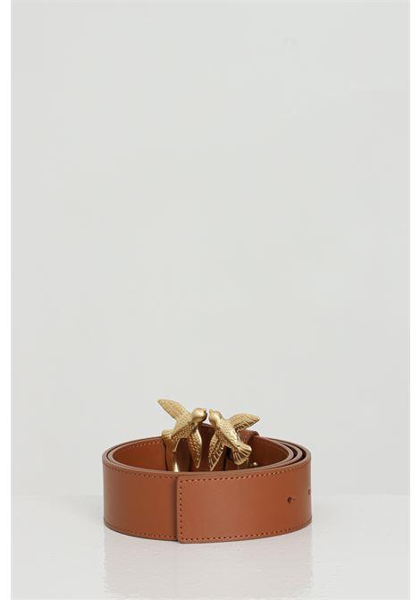 Cintura donna marrone pinko in pelle con fibbia in oro light PINKO | Cinture | 1H20WJ-Y6XFL58