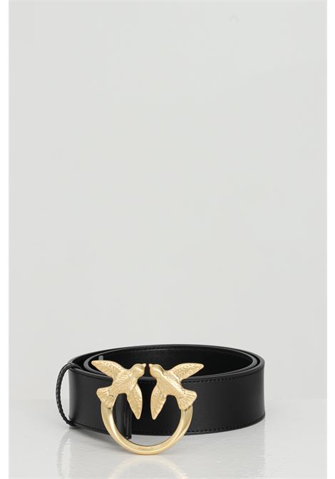 Cintura in pelle con fibbia in oro light PINKO | Cinture | 1H20WJ-Y6XFZ99
