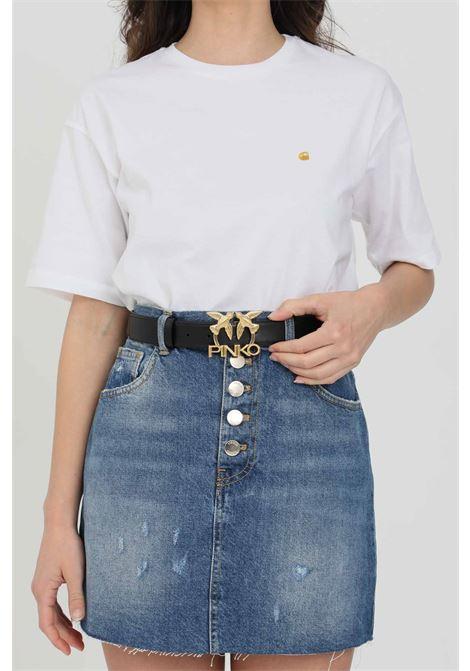 Cintura donna nera pinko con fibbia logata metallica PINKO | Cinture | 1H20WK-Y6XFZ99
