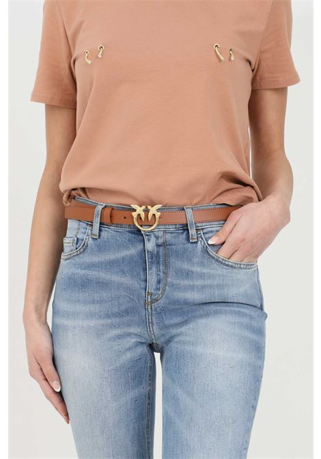 Cintura donna marrone pinko con logo gold in acciaio PINKO | Cinture | 1H20WV-Y6XFL58
