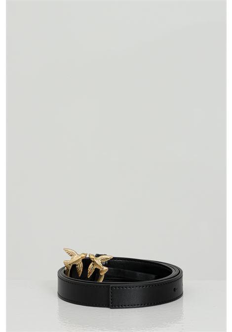 Cintura donna in tinta unita con logo gold in acciaio PINKO | Cinture | 1H20WV-Y6XFZ99
