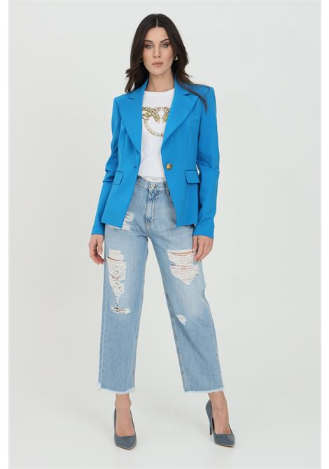Llight blue jeans, mom-fit. High waist with belt loops and straight leg, slightly narrower at the bottom. Pinko PINKO | Jeans | 1J10LG-Y649F15