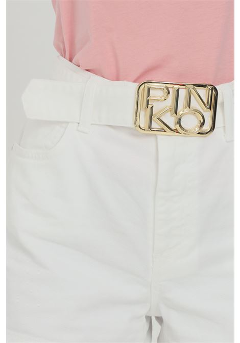 White shorts with maxi light gold buckle. High waist. Pinko PINKO | Shorts | 1J10N1-Y652Z08