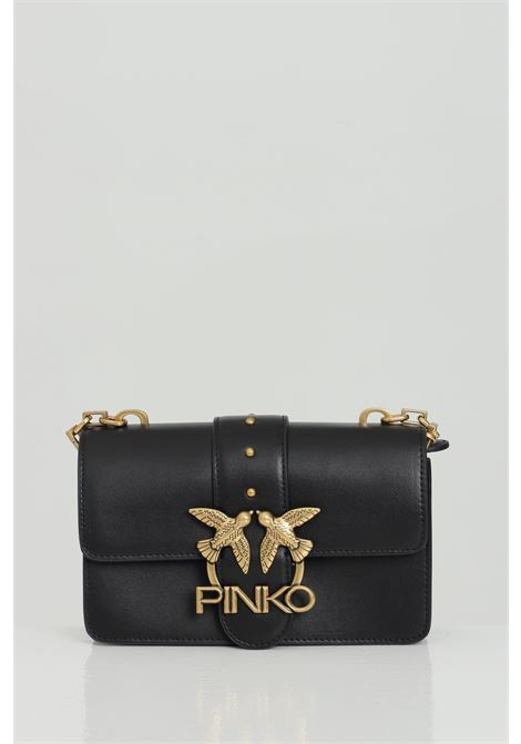 Bauletto with adjustable shoulder strap. Steel swallow logo PINKO | Bag | 1P221Q-Y6XTZ99