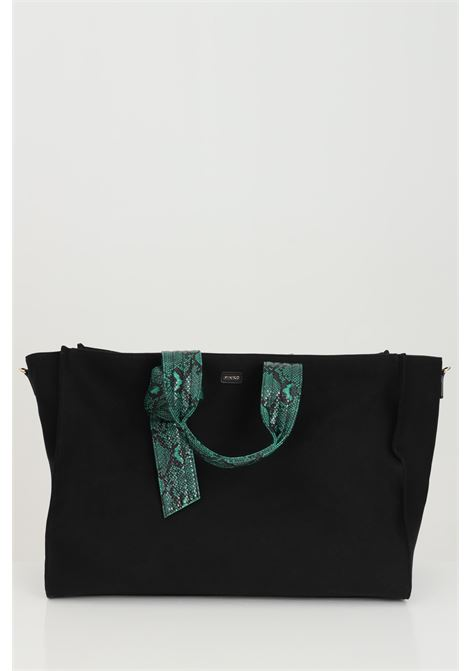 Borsa donna nera Pinko shopper in tessuto con manici stampati, chiusura con zip e tracolla removibile PINKO | Borse | 1P224D-Y6YKZ99