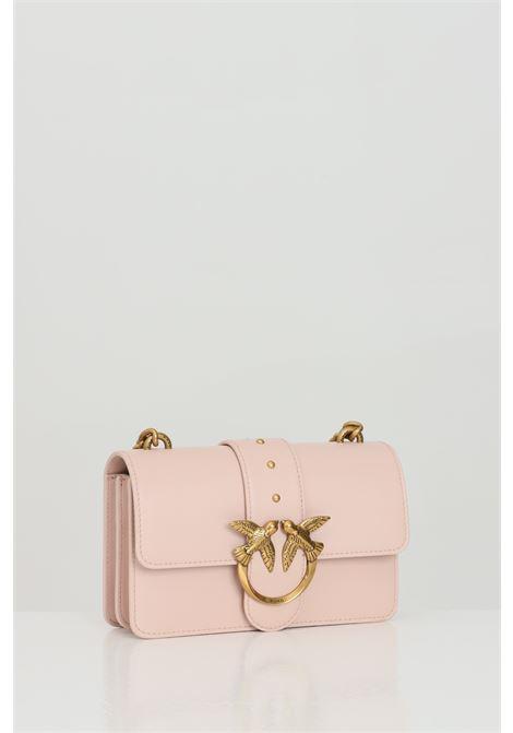 Pink bag with steel shoulder strap. Snap closure, steel swallow logo. Pinko PINKO | Bag | 1P227M-Y6XTO81