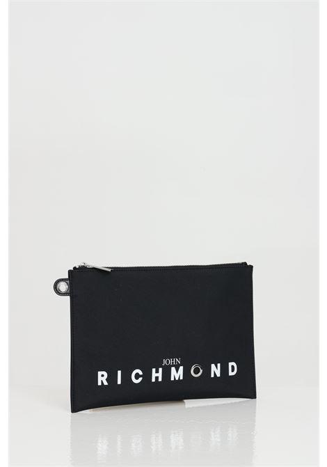 Pochette con logo frontale e zip RICHMOND | Borse | RMP21243BO8ABLACK