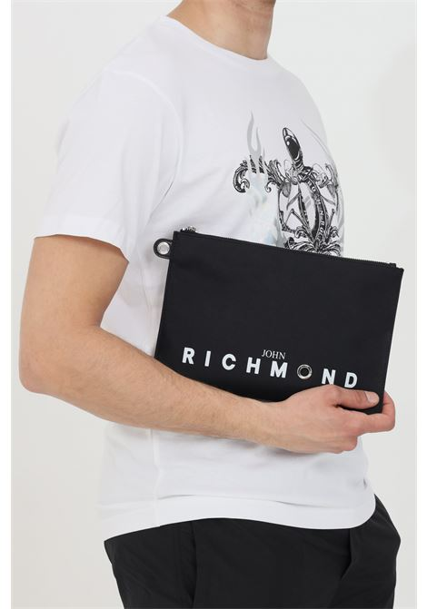 Clutch bag with front logo and zip RICHMOND | Bag | RMP21243BO8ABLACK