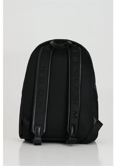 Backpack with maxi logo on the front and zip. RICHMOND | Backpack | RMP21249ZA8ABLACK