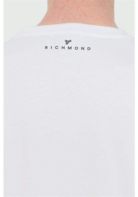 Crew neck T-shirt with front logo print RICHMOND | T-shirt | UMP21004TSOFWHITE