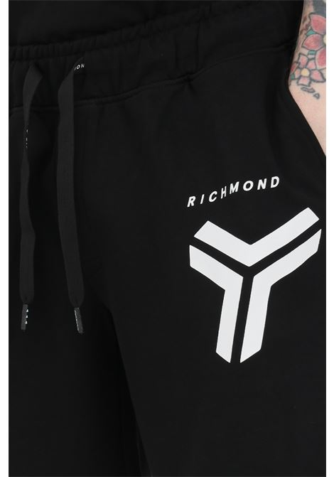 Shorts with waist elastic band and front logo RICHMOND | Shorts | UMP21010BEOFBLACK